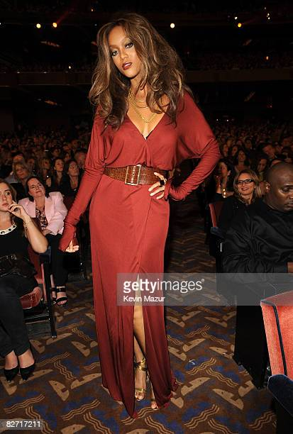 Tyra Banks in the audience at Conde Nast Media Group's Fifth Annual Fashion Rocks at Radio City Music Hall on September 5 2008 in New York City