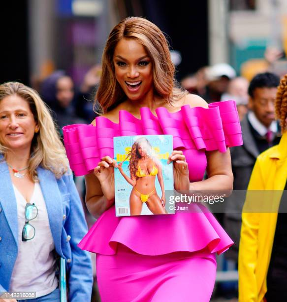 Tyra Banks is seen wearing a fuchsia dress on May 8 2019 in New York City