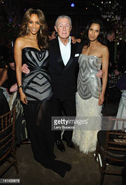Tyra Banks Joel Schumacher and Padma Lakshmi attend the Endometriosis Foundation of America's 4th annual Blossom Ball at The New York Public Library...