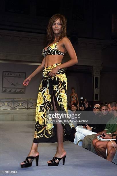 Tyra Banks on runway during Jantzen Swimwear show at Laura Belles