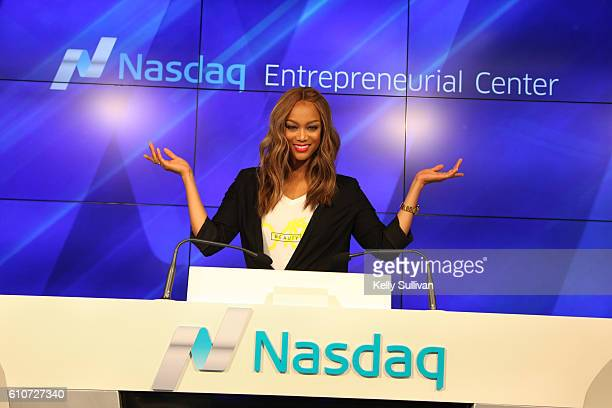 Tyra Banks poses for a photo after the Closing Bell ceremony at the Nasdaq Entrepreneurial Center on September 27 2016 in San Francisco California