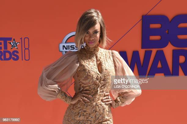 Tyra Banks poses upon arrival for the BET Awards at Microsoft Theatre in Los Angeles California on June 24 2018