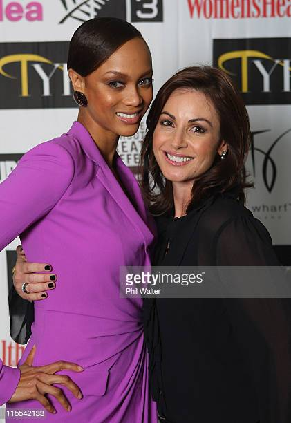 Tyra Banks poses with NZ Top Model judge Sara Tetro during the Tyra Banks Global BIO Summit at The Wharf on December 16 2009 in Auckland New Zealand