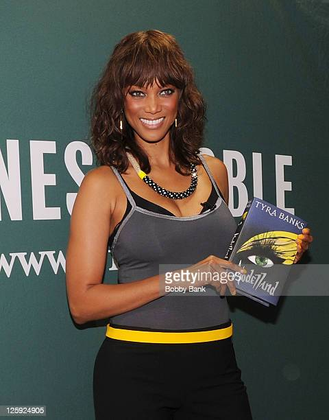"""Tyra Banks promotes her new book """"Modelland"""" at Barnes & Noble at Union Square on September 21, 2011 in New York, United States."""