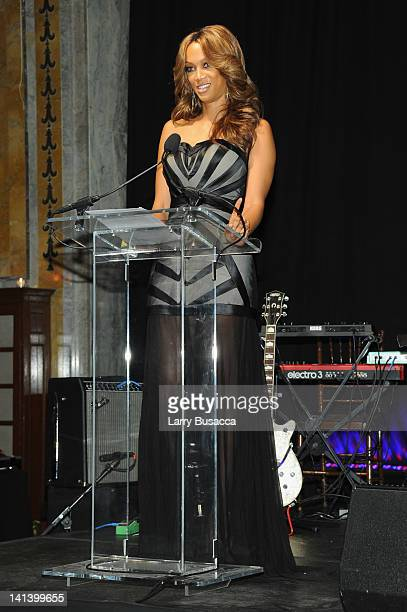 Tyra Banks speaks onstage at the Endometriosis Foundation of America's 4th annual Blossom Ball at The New York Public Library Stephen A Schwarzman...