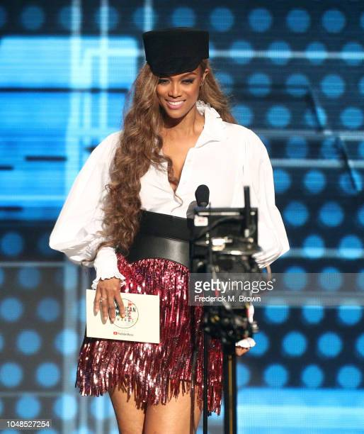 Tyra Banks speaks onstage during the 2018 American Music Awards at Microsoft Theater on October 9 2018 in Los Angeles California