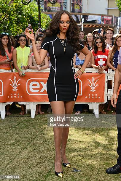 Tyra Banks visits 'Extra' at The Grove on July 19 2013 in Los Angeles California