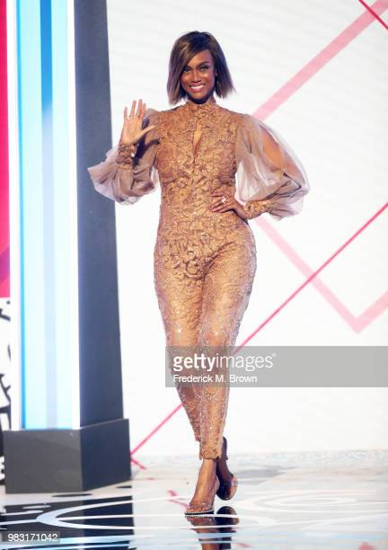 Tyra Banks walks onstage at the 2018 BET Awards at Microsoft Theater on June 24 2018 in Los Angeles California