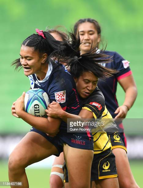 Tyra BoysenAuimatagi of the Rebels is tackled during the Super W round three match between the Melbourne Rebels and RugbyWA at AAMI Park on March 08...