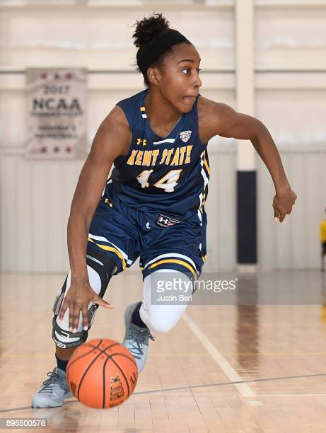 Tyra James of the Kent State Golden Flashes dribbles in the second half during the game against the Robert Morris Colonials at North Athletic Complex...