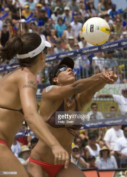 Tyra Turner digs the ball during the women's finals against Misty MayTreanor and Kerri Walsh in the AVP Long Beach Open at Marina Green Park on July...