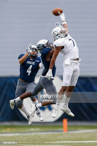 Tyrae Thornton of the Rice Owls breaks up a pass intended for Travis Fulgham of the Old Dominion Monarchs in the fourth quarter at Rice Stadium on...