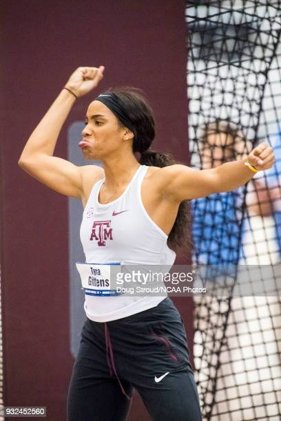 Tyrah Gittens of Texas AM University takes second place in the Shot Put portion of the Women's Pentathlon during the Division I Men's and Women's...