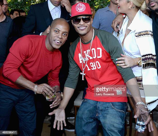Tyran 'Tata' Smith and rapper TI attend the Roc Nation PreGRAMMY Brunch Presented by MAC Viva Glam at Private Residence on January 25 2014 in Beverly...