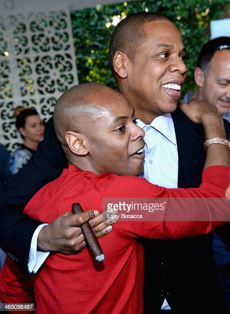Tyran 'Tata' Smith and rapper/producer JayZ attend the Roc Nation PreGRAMMY Brunch Presented by MAC Viva Glam at Private Residence on January 25 2014...