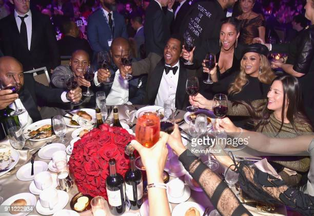 Tyran 'Tata' Smith JayZ Alicia Keys and Beyonce attend the Clive Davis and Recording Academy PreGRAMMY Gala and GRAMMY Salute to Industry Icons...