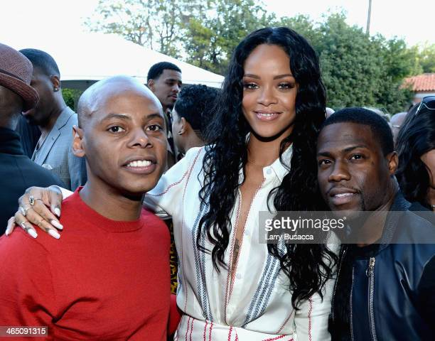 Tyran 'Tata' Smith recording artist Rihanna and actor Kevin Hart attend the Roc Nation PreGRAMMY Brunch Presented by MAC Viva Glam at Private...