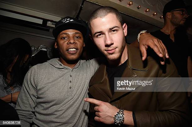 Tyran 'Ty Ty' Smith and Nick Jonas celebrate his collaboration with Altec Lansing at UpDown on June 15 2016 in New York City