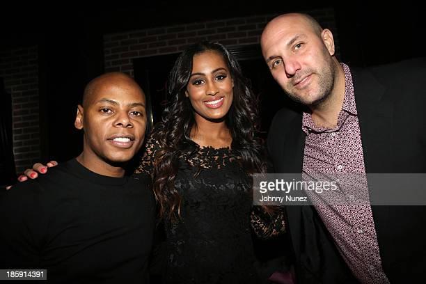Tyran Ty Ty Smith Skylar Diggins and Rich Kleiman attend Adrienne Bailon's 30th birthday celebration at Studio XXI on October 25 2013 in New York City