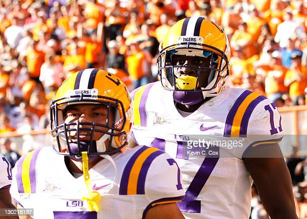 Tyrann Mathieu and Morris Claiborne of the LSU Tigers against the Tennessee Volunteers at Neyland Stadium on October 15, 2011 in Knoxville, Tennessee.