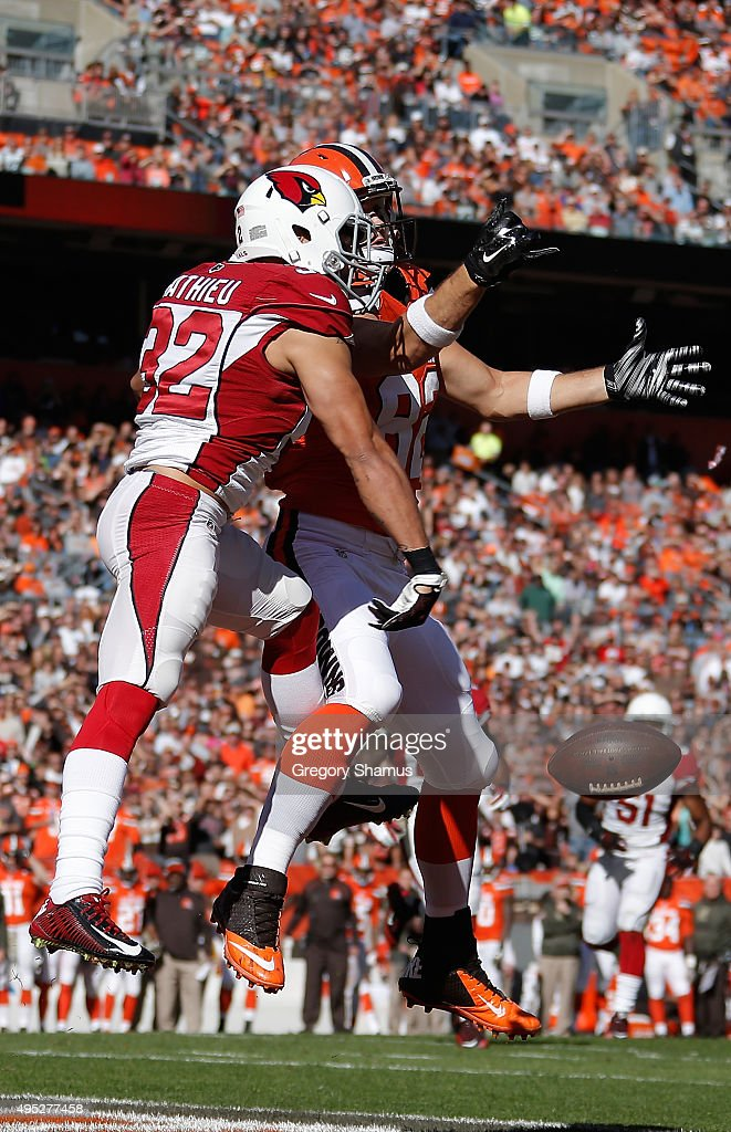 Tyrann Mathieu #32 of the Arizona Cardinals breaks up a pass while defending Gary Barnidge #82 of the Cleveland Browns during the second quarter at FirstEnergy Stadium on November 1, 2015 in Cleveland, Ohio.