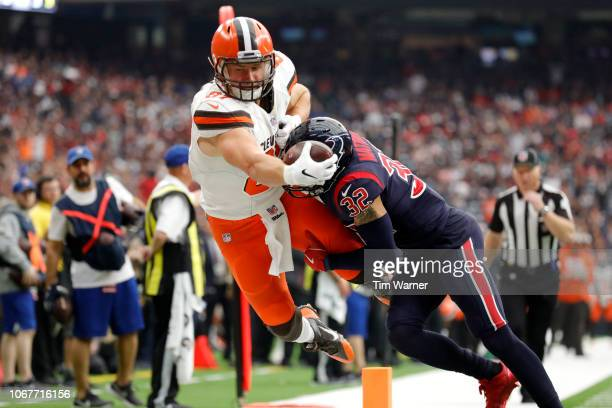 Tyrann Mathieu of the Houston Texans forces Seth DeValve of the Cleveland Browns out of bounds preventing a touchdown in the third quarter at NRG...