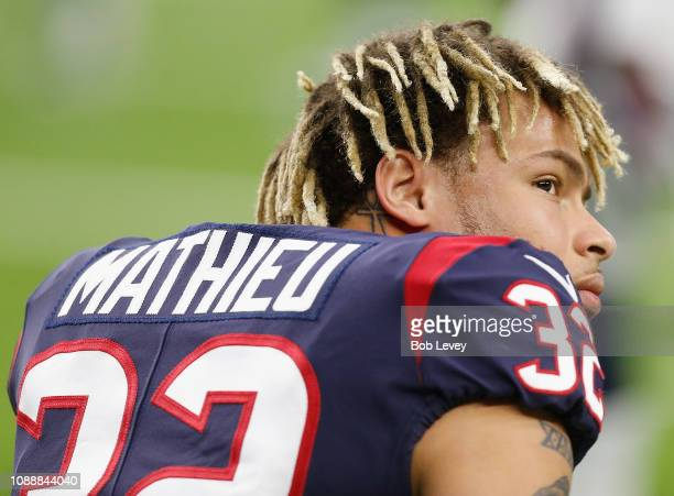 Tyrann Mathieu of the Houston Texans takes a moment during warmup before playing the Jacksonville Jaguars at NRG Stadium on December 30 2018 in...