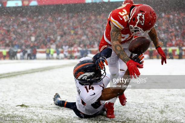 Tyrann Mathieu of the Kansas City Chiefs breaks up a pass intended for Courtland Sutton of the Denver Broncos in the game at Arrowhead Stadium on...