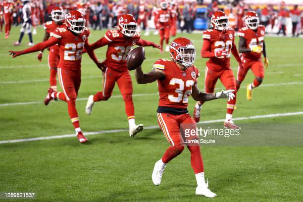 Tyrann Mathieu of the Kansas City Chiefs celebrates after an interception in the final minutes of a game against the Denver Broncos at Arrowhead...
