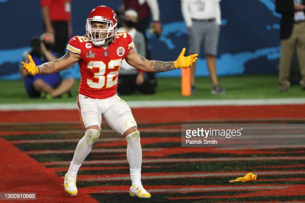 Tyrann Mathieu of the Kansas City Chiefs reacts after a penalty call in the second quarter against the Tampa Bay Buccaneers in Super Bowl LV at...