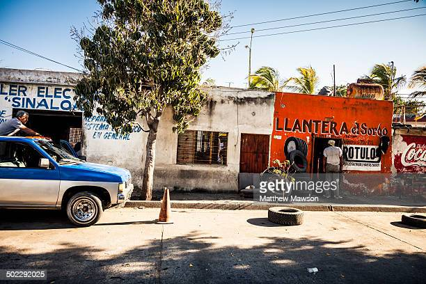 CONTENT] Tyre and wheel repair shop on a street in the city of Mazatlan in Sinaloa State Mexico