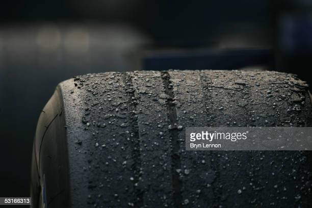 Tyre detail after the Malaysian Formula One Grand Prix at Sepang Circuit on March 20 2005 in Kuala Lumpur Malaysia