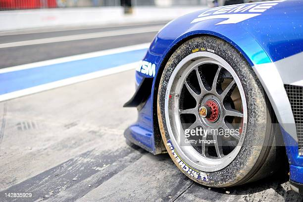 Tyre detail during the Blancpain GT Endurance test day one at Autodromo di Monza on April 13 2012 in Monza Italy