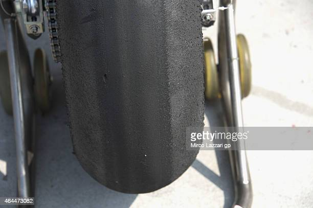 Tyre in box during the Michelin test tyres during MotoGP Tests in Sepang Day Four at Sepang Circuit on February 26 2015 in Kuala Lumpur Malaysia