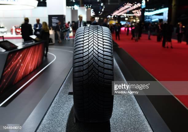A tyre is seen at the Paris Motor Show 'Mondial de l'Automobile' at the Porte de Versailes in Paris France on October 02 2018 The Paris Motor Show...
