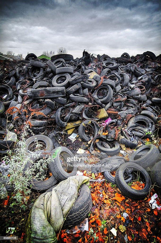 Tyre mountain- Gorton : Stock-Foto