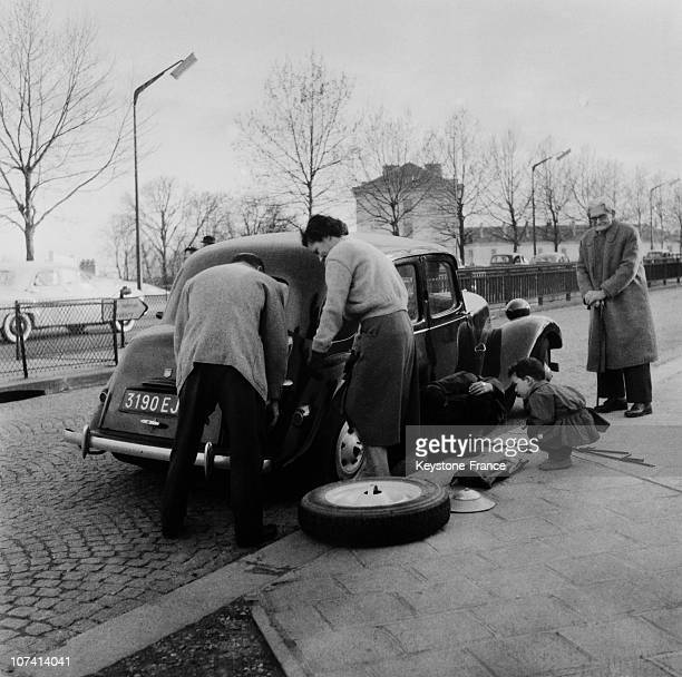 Tyre Puncture In A Street Of Paris During Easter Holidays At Paris In France On 1956