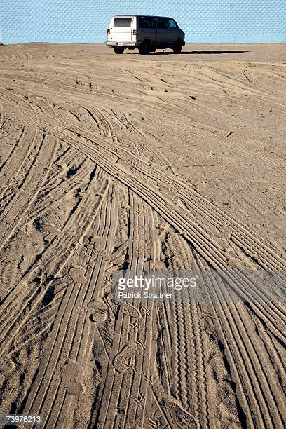 Tyre tracks in sand