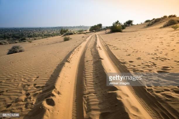 Tyre tracks in the Desert.