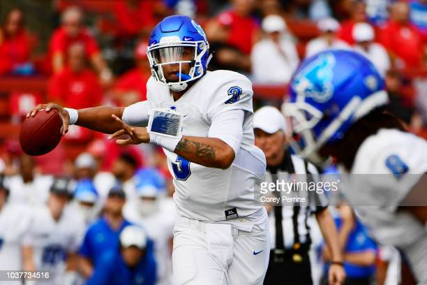 Tyree Jackson of the Buffalo Bulls looks to pass against the Rutgers Scarlet Knights during the second quarter at HighPointcom Stadium on September...