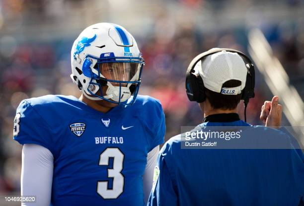 Tyree Jackson of the Buffalo Bulls talks to a coach on the sideline during a game against the Army Black Knights at University at Buffalo Stadium on...