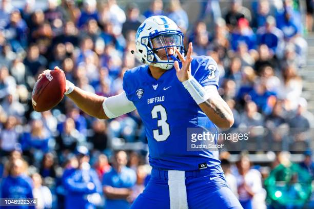 Tyree Jackson of the Buffalo Bulls throws a pass against the Army Black Knights during a game at University at Buffalo Stadium on September 29 2018...