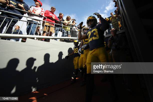 Tyree Kinnel of the Michigan Wolverines takes the field to play the Maryland Terrapins on October 6 2018 at Michigan Stadium in Ann Arbor Michigan...