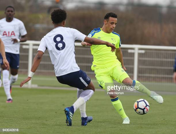 Tyree Wilson of Derby County looks to control the ball watched by Tashan OakleyBoothe of Tottenham Hotspur during the Premier League 2 match between...