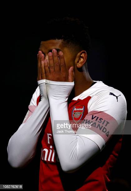 Tyreece John Jules of Arsenal reacts during the Premier League 2 match between Arsenal and Everton at Meadow Park on October 22 2018 in Borehamwood...