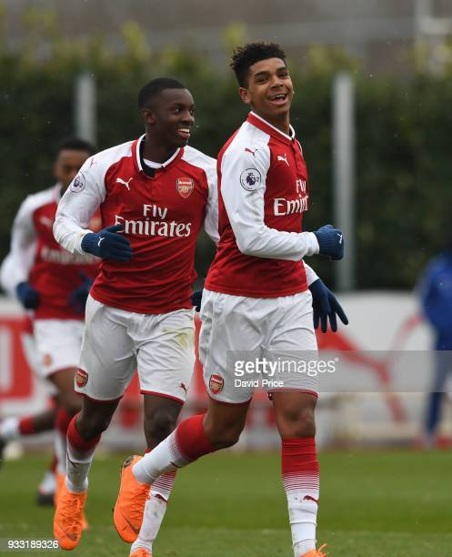 Tyreece JohnJules celebrates scoring Arsenal's 2nd goal with Eddie Nketiah during the match between Arsenal U23 and Chelsea U23 at London Colney on...
