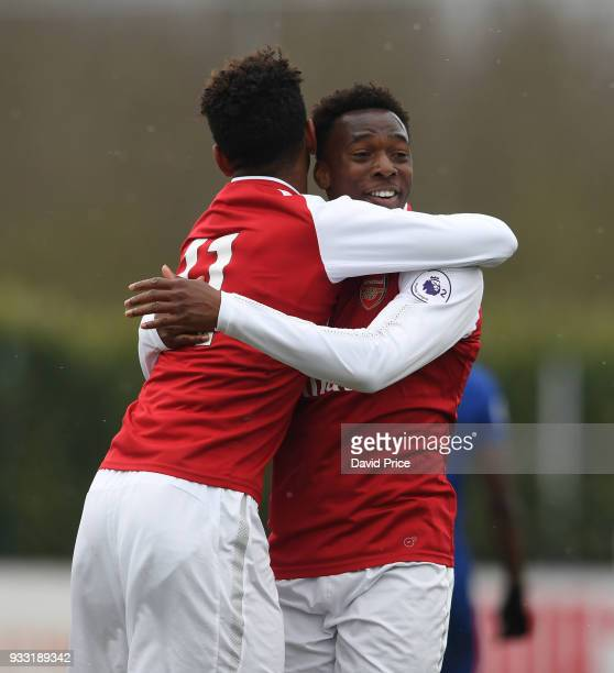 Tyreece JohnJules celebrates scoring Arsenal's 2nd goal with Tolaji Bola during the match between Arsenal U23 and Chelsea U23 at London Colney on...