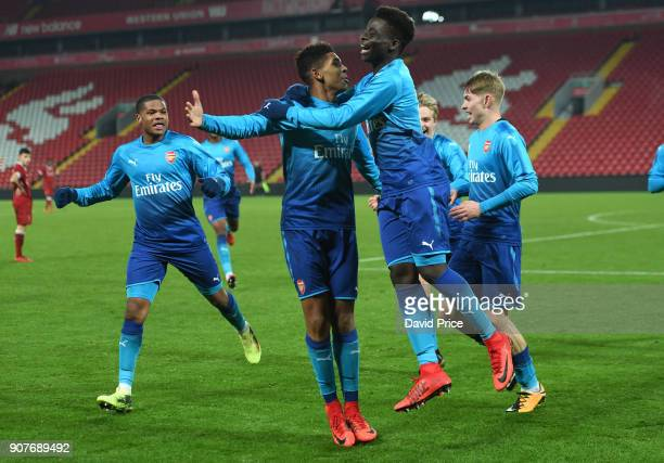 Tyreece JohnJules celebrates scoring Arsenal's 3rd goal with Bukayo Saka during the FA Youth Cup 4th Round match between Liverpool and Arsenal at...