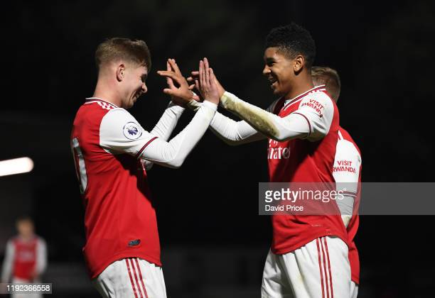 Tyreece John-Jules celebrates scoring Arsenal's 3rd goal with Emile Smith Rowe during the PL2 match Arsenal U23 and Blackburn Rovers U23 at Meadow...