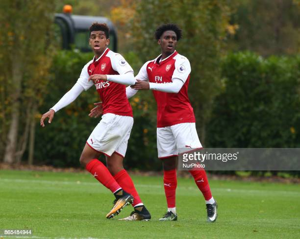 Tyreece JohnJules of Arsenal celebrates scoring his sides second goal with Aaron Eyoma of Arsenal during Premier League 2 Div 1 match between...